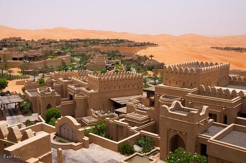 sunset summer sand desert complex buldings qasralsarab