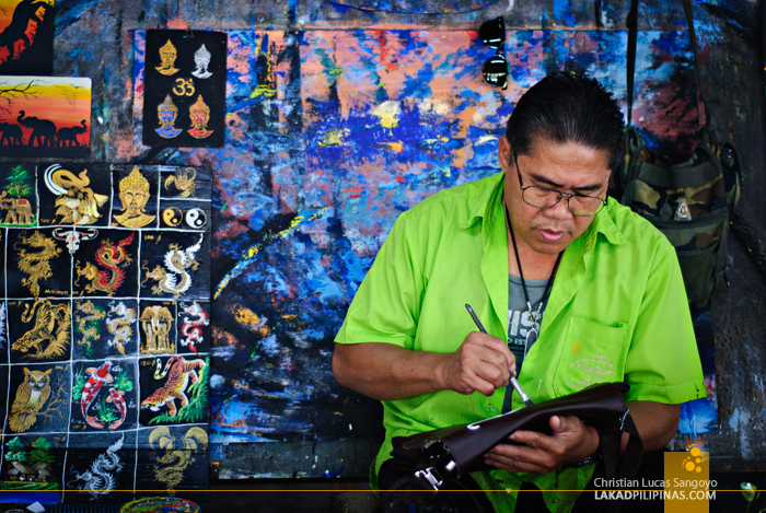 One of the Artist at the Umbrella Making Centre in Chiang Mai
