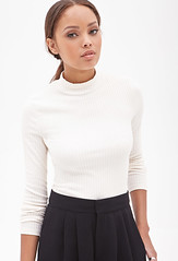ribbed mock neck top cream forever 21