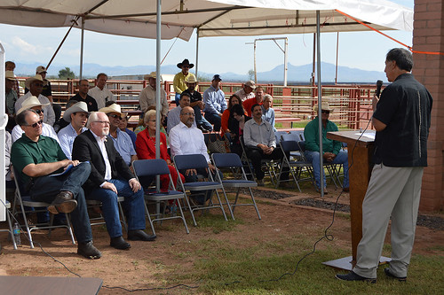 USDA Marketing and Regulatory Programs Under Secretary Ed Avalos speaking to Congressman Ron Barber and local stakeholders at the celebration of the opening of the contingency livestock inspection facility in Douglas, AZ.