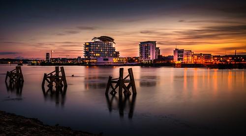 uk water st wales night marina hotel bay nikon south cardiff davids lightroom d5200