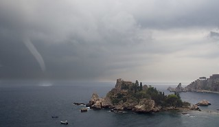 Isola Bella and waterspout
