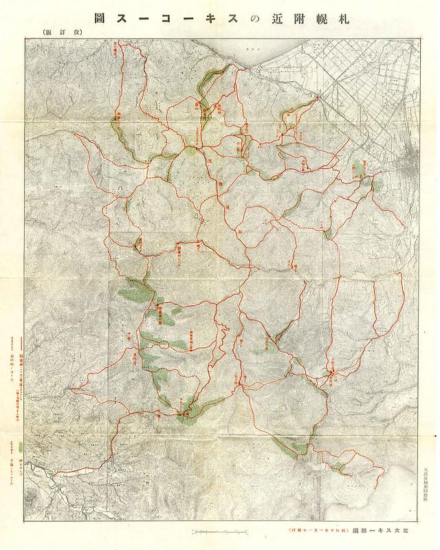 1930's ski touring routes in Sapporo, Hokkaido, Japan