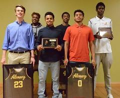 Seniors and major award winners at tonight's boys basketball banquet. 🏀 #basketball @alemanyhoops