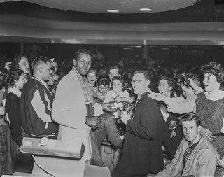 Chuck Berry with fans at the Edmonton Gardens, Alberta