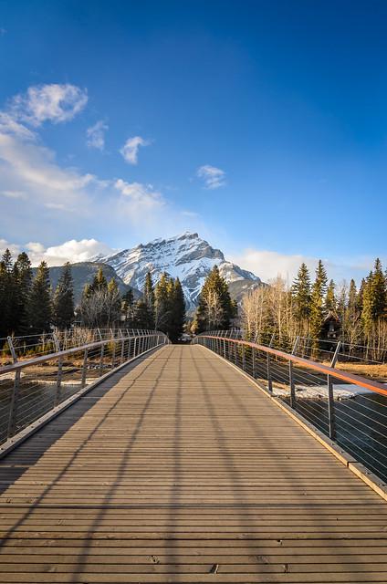 Cascade mountain in Banff National Park seen from bridge in Banff