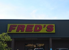 Closeup of the vintage Arlington Fred's sign