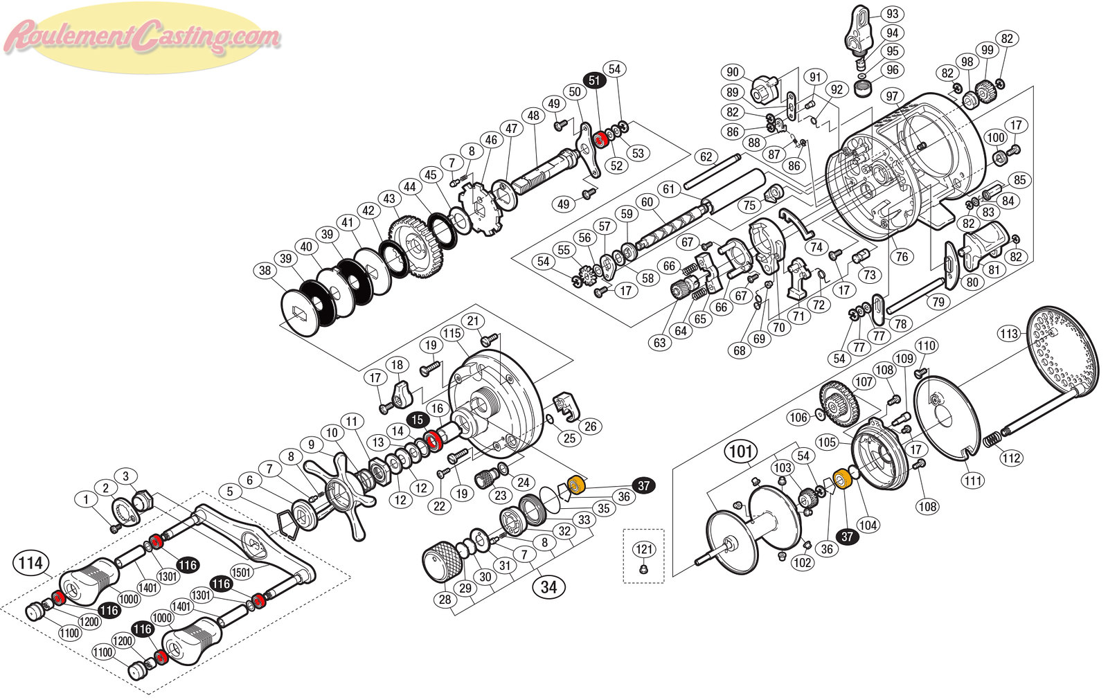 Schéma Shimano Conquest 03' 401
