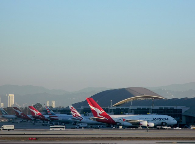 7 jets seen at the International terminal B @ 7:18 AM at LAX airport Friday morning September 26, 2014.