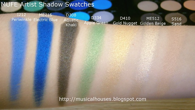 MUFE Artist Shadow Eyeshadow Swatches 1 Row 5