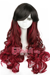 70cm Gothic Classical Mix Black Wine fade bleach Cosplay Wig C52