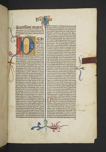Decorated and illuminated page in Thomas de Argentina: Scripta super quattuor libros sententiarum