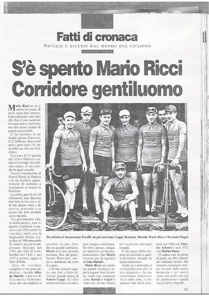 S'è spento Mario Ricci  Corridore gentiluomo nell'articolo foto squadra Legnano anni '40 da sin. Favalli, Coppi, Ronconi, Bartali, Mario Ricci e Secondo Magni
