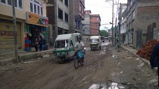 Kathmandu city street mud fest