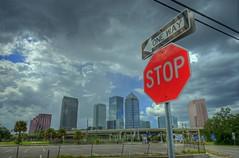 Tampa skyline & stop sign