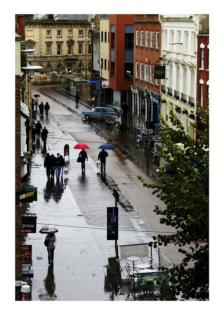 Umbrellas in the rain!