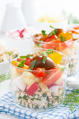vegetable salad with cottage cheese in a glass, ve…