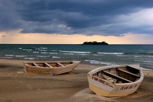 africa lake storm boat malawi thunder