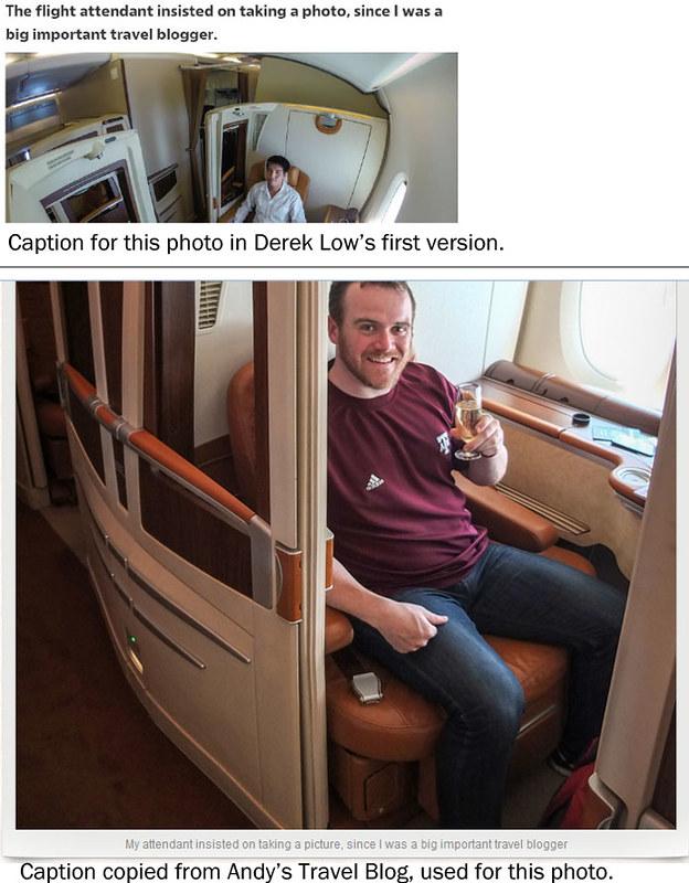 Derek Low alleged plagiarism - flight attendant photo