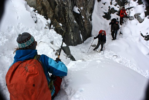 Tip: to make it down a snowy mountain, use your buttocks. Improvement on comfort if you're wearing Gortex pants