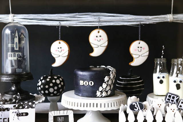 a black and white halloween party