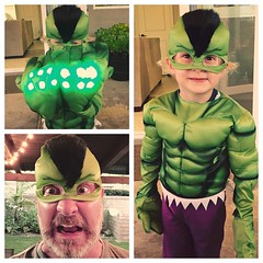 Now the child wants to be The Hulk. I could let him have all the fun. #halloween