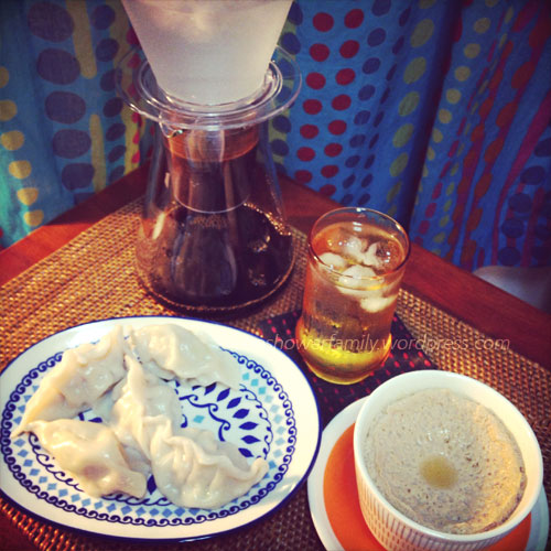 Homemad:ice drip coffee ,dumpling ,steamed egg