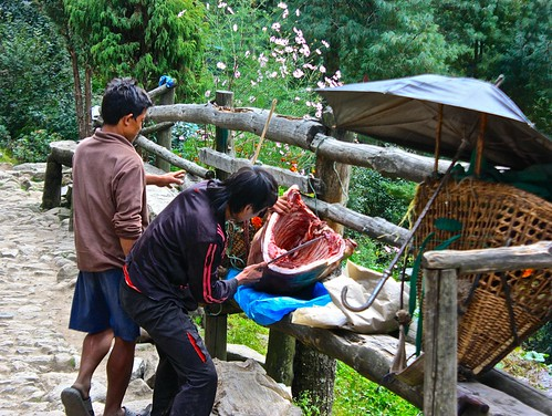 again... this is how meat is handled on everest. Delevered by basket, cut to portion of whatever is needed