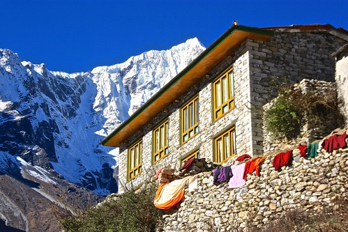 clothes dry on the walls of the Thame Gompa Monastery
