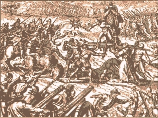 Contemporary engraving of the Battle of Cajamarca