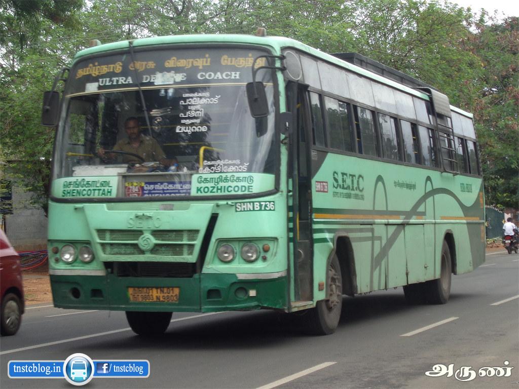 TN-01N-9803 ( SHN B 736 ) of Sencottah Depot Route 784 UD Sencottah - Kozhikode via Tenkasi, Rajapalayam, Madurai, Palani, Pollachi, Palakkad, Malapuram.
