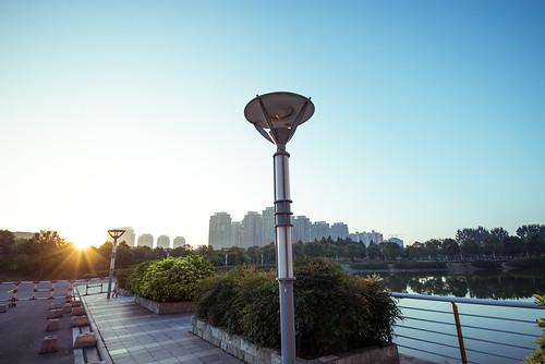 park street morning blue light sky sun lake water lamp sunrise sunny clear