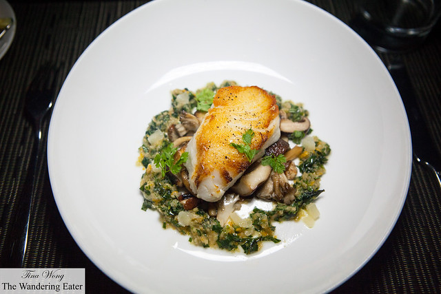 Roasted Cod with Mushrooms, Herbal Ginger Scallion Condiment
