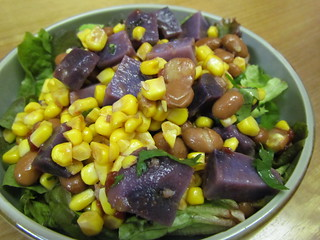 Spicy Blue Potato & Corn Salad