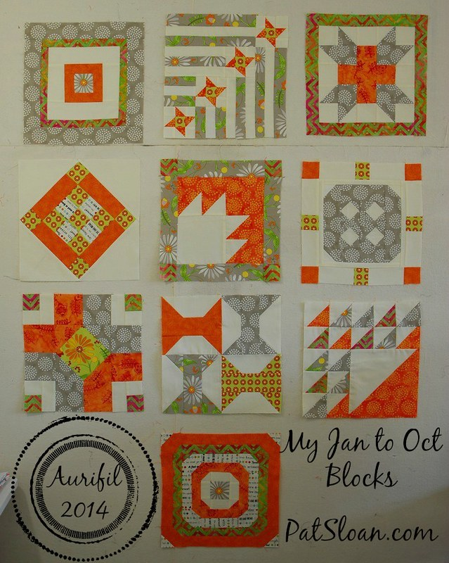 Pat Sloan Jan to Oct Aurifil blocks