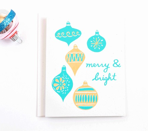 Merry & Bright, hand screen printed holiday card by Vitamini