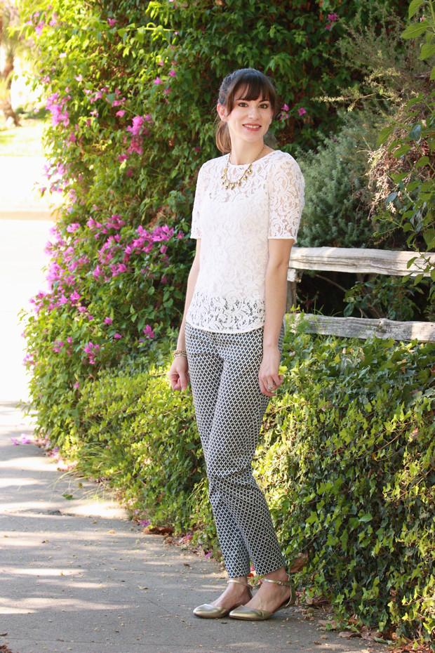 lace top, printed pants, j.crew