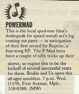 11/09/88 Powermad/ Realm/ Us @ First Avenue, Minneapolis, MN
