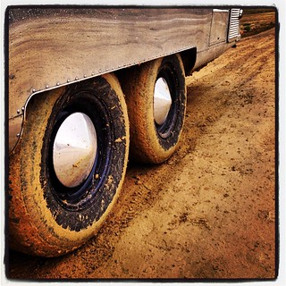 After a quarter mile of 9-inch deep  mud. Dirty #airstream. #airstreamdc2cali #vintageairstream