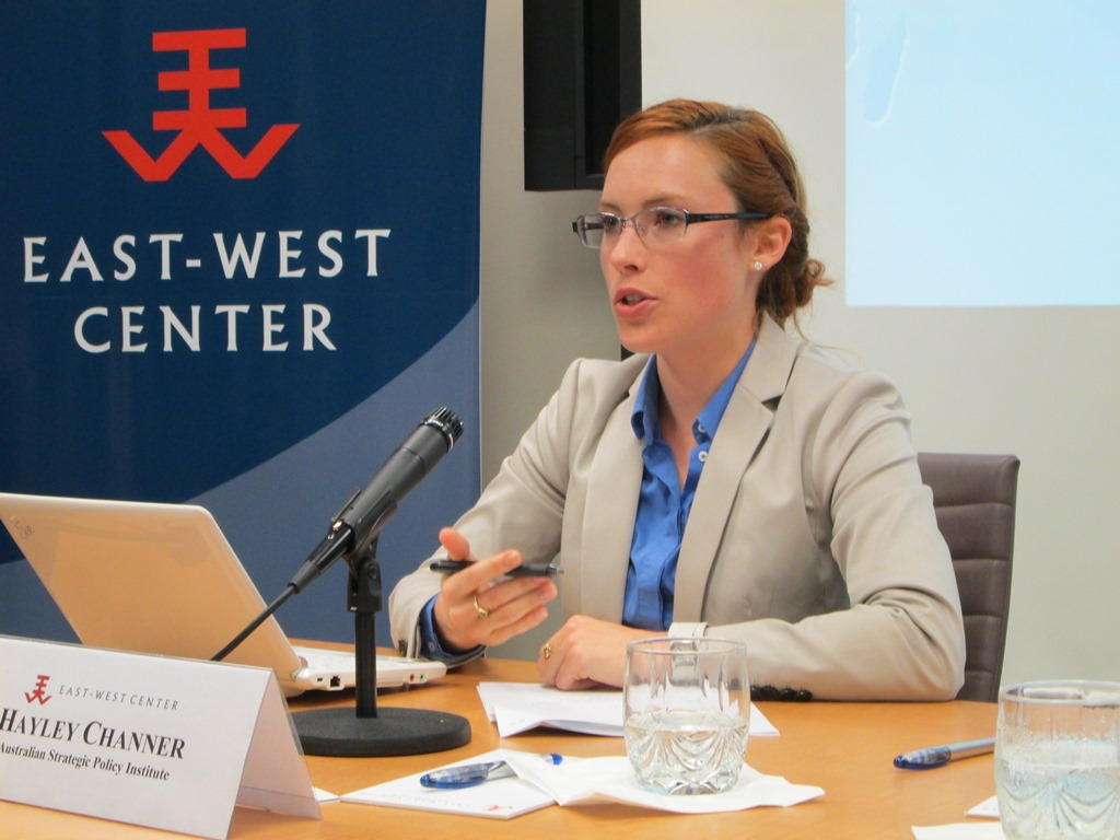 Analyst, Australian Strategic Policy Institute (ASPI), Canberra, Ms.Hayley Channer was visiting scholar at the East-West Center in Washington. While in the US, Channer researched the what the US expected of its allies as part of its new rebalance policy to Asia.