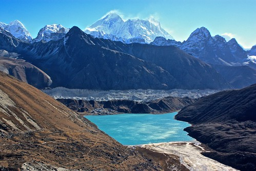 climbing away from Gokyo on our way to Renjo La Pass. Everest and Lhotse in the distance