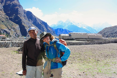 Lina with our guesthouse owner that summited Mt. Everest 13 times (his brother summited 23 times)