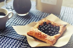 r.e. ~ posted a photo:	A special quiet moment at home. Blueberry puff pastry mini pie and a great cup of coffee. Comforting. Have  a great Sunday!