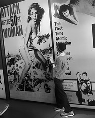 Sometimes those old movie posters sneak up on you... #attackofthe50ftwoman #candid #portraitphotography #portrait #blackandwhitephotography #blackandwhite #movieposters #em10markii #olympus #20mm