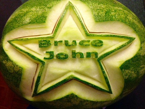 """This is a watermelon carving for Bruce Johns fund raising event all funds with be going to be """"Bruce John Fund"""""""