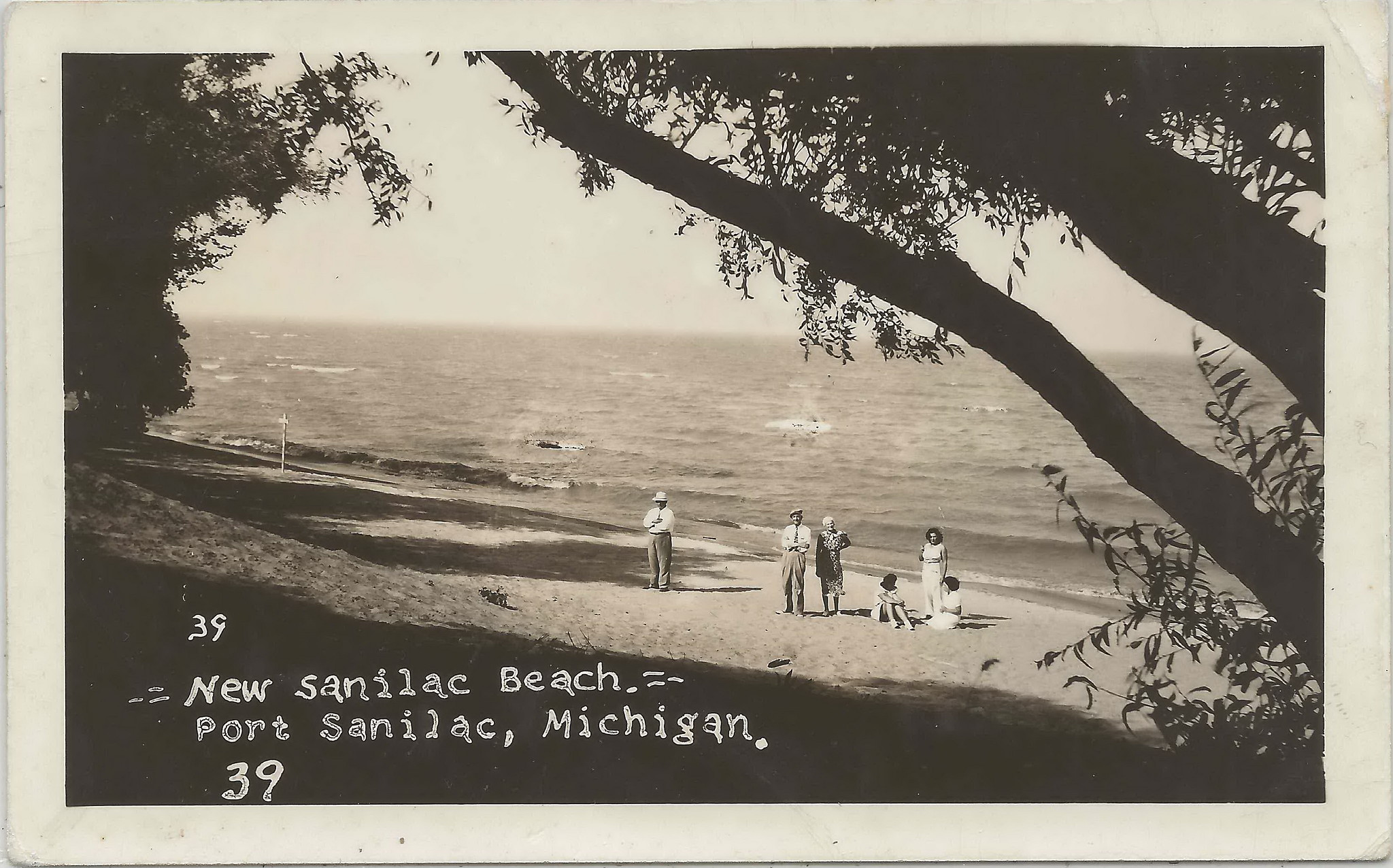 CEN Port Sanilac MI RPPC 1930s Future SANILAC BEACH BABES Viewing the NEW VILLAGE BEACH with there Moms and Dads Lake Huron Beach Scene in Sanilac County