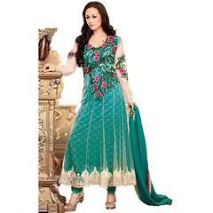 Green Net Indian Anarkali Kameez