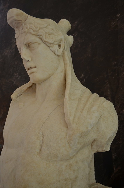 Marble bust identified as Actaeon who was transformed into a stag by the unwary hunter Diana while bathing, Hadrianic period (AD 117-138), Museo delle Navi, Nemi