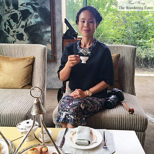 Me having afternoon tea at Mandarin Oriental Shanghai