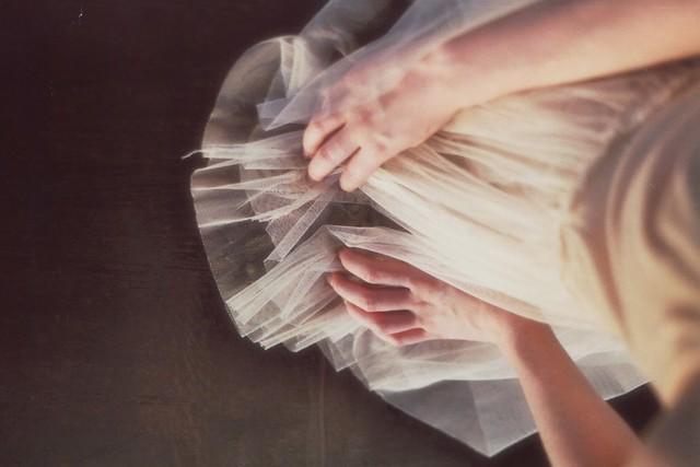 worteinbildern - Hands on tulle and wood